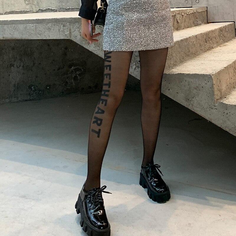Spring Summer Fashion Letter Leggings Printed Leggings Sexy Fishnet Panty Women Elastic Silky Pants