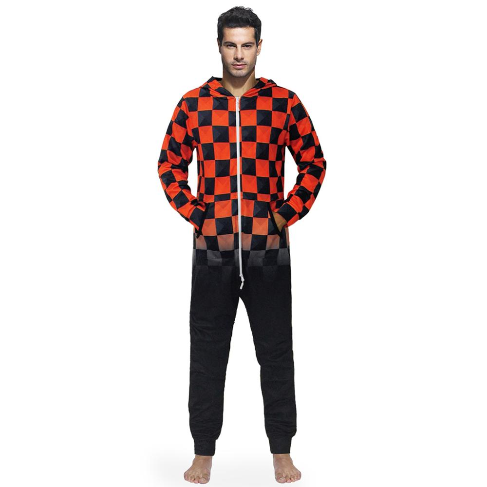 NPK Pajamas With Black And Red Checked Gingham Imprinting Men's Plaid Jumpsuits Long Sleeves Checked Sleepwear Fashion Housewear