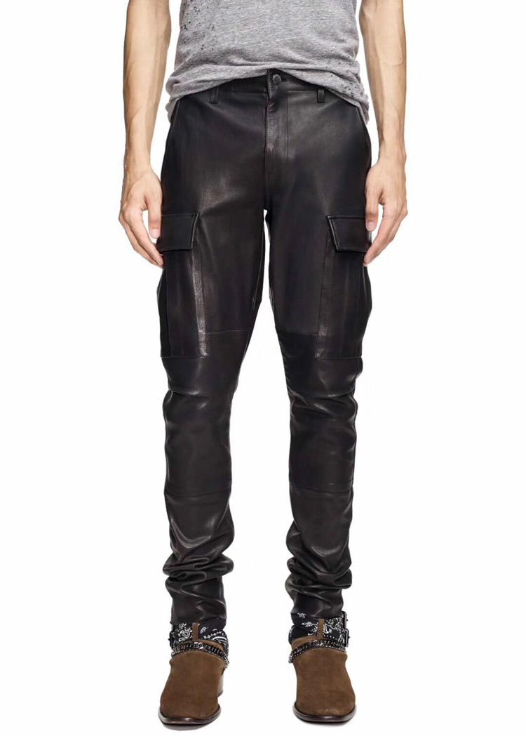 Men's New Europe And America Large Size Black Slim Joker Leather Pants Men's Motorcycle Personality Leather Pants
