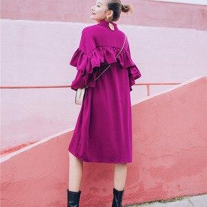 Image 5 - LANMREM Rose Red Lapel Long Sleeve Ruffled Waistband Single breasted Loose Plus Woman Dress Casual Fashion 2020 autumn New TV534