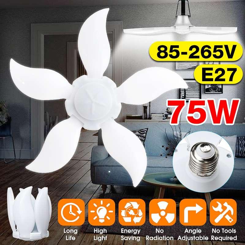 5 Leaf Super Bright Led Garage Light Deformable Industrial Lighting E27 75w 85-265V/165-265V 2835 Workshop Ceiling Lights