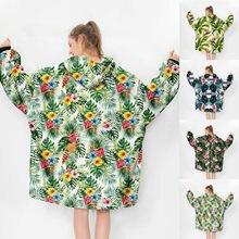 Sweat-shirt molletonné surdimensionné pour Femme, couverture d'hiver, motif plante verte