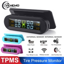 Wireless TPMS Tire Pressure Monitoring System with External Sensor Car Tyre Pressure Sensor Alarm Solar USB Charge tpms monitor