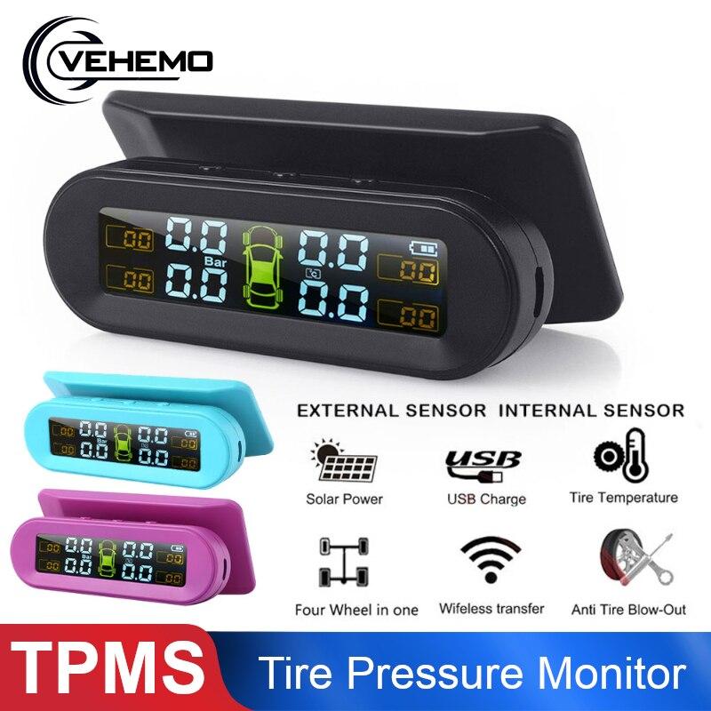 Sistema de Monitoramento de Pressão DOS Pneus TPMS sem fio com 4 Alarme Sensor De Sensor de Pressão Dos Pneus Do Carro de Carga USB Energia Solar Externo Pára