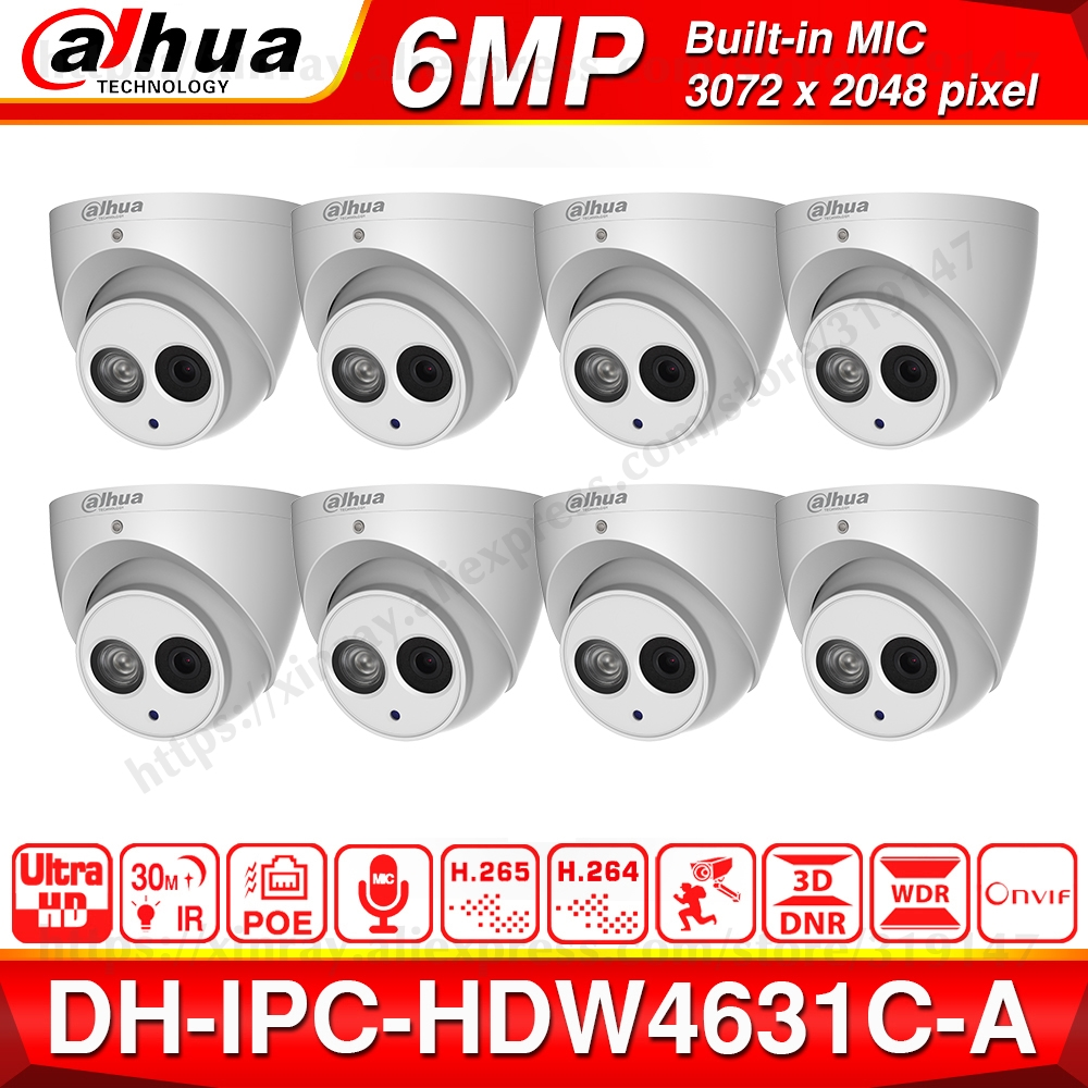 Image 1 - Wholesale DH 6MP IP Camera IPC HDW4631C A Upgrade From IPC HDW4431C A POE Mini Dome Cam Built in MIC CCTV Camera Metal 8pcs/lot-in Surveillance Cameras from Security & Protection