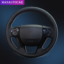Hand Sewing Car Steering Wheel Cover for Honda Accord 9 Odyssey Crosstour 2013 2016 Pilot Auto Braid On The Steering Wheel Cover