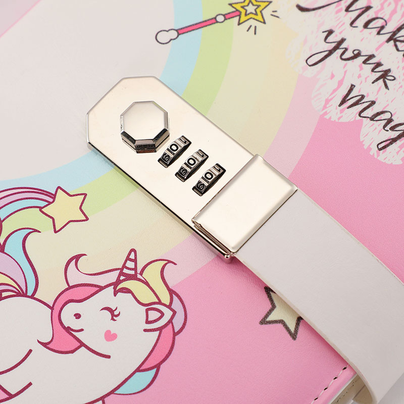 Image 5 - A5 Cute Unicorn Thicken Password Notebook with Code Lock Refillable Planner Daily Memos Kawaii Girls Diary Notebook Journal GiftNotebooks   -
