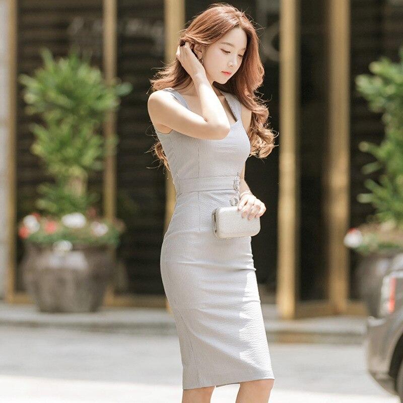 Dress 2018 Summer New Style WOMEN'S Dress Korean-style Fashion Square Collar Sleeveless Slim Fit Slimming Sheath Pencil Skirt