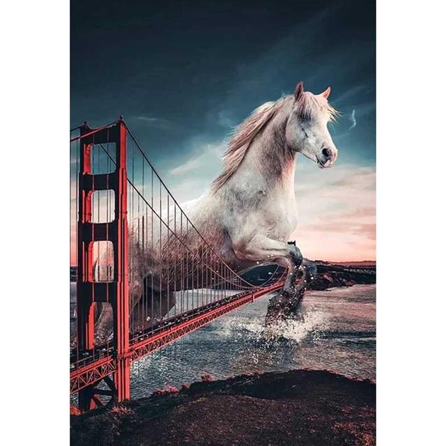 Horse jumps over Golden Gate Bridge