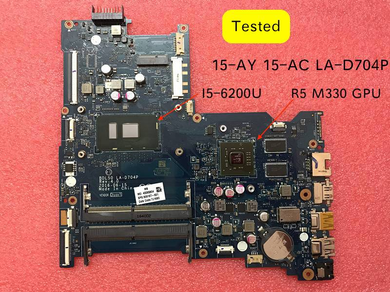 BDL50 LA-D704P 854936-601 Pour HP 15-ac 15-AY 15-ay015ds 250 G5 Ordinateur Portable Carte Mère SR23Y I5-6200U CPU 854936-001