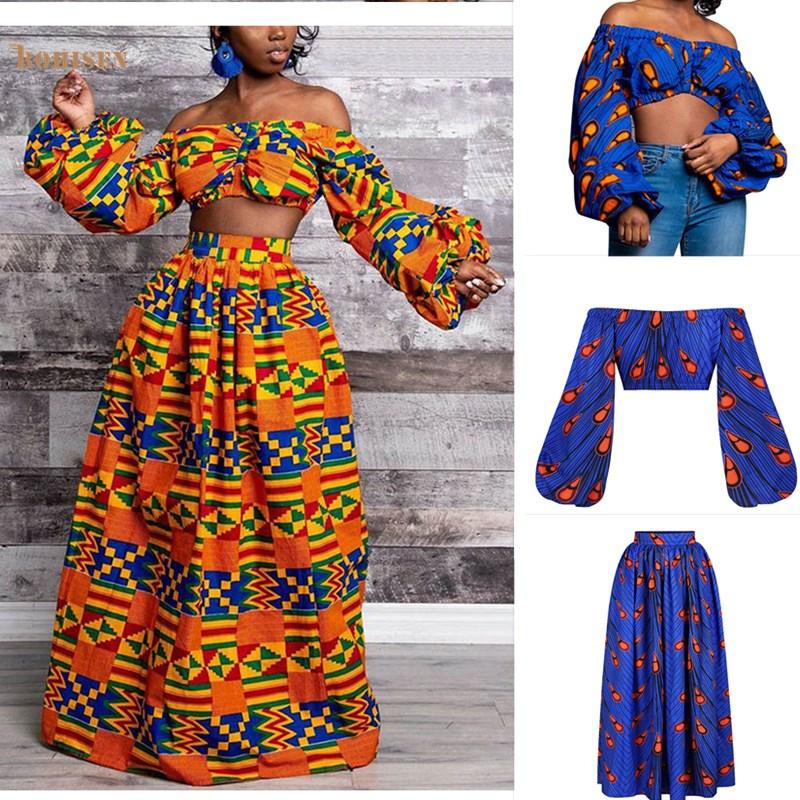 BOHISEN Dashiki African Dresses For Women Bazin Ankara Dress Long Sleeve African Print Clothing Suits Vestidos Skirt And Top