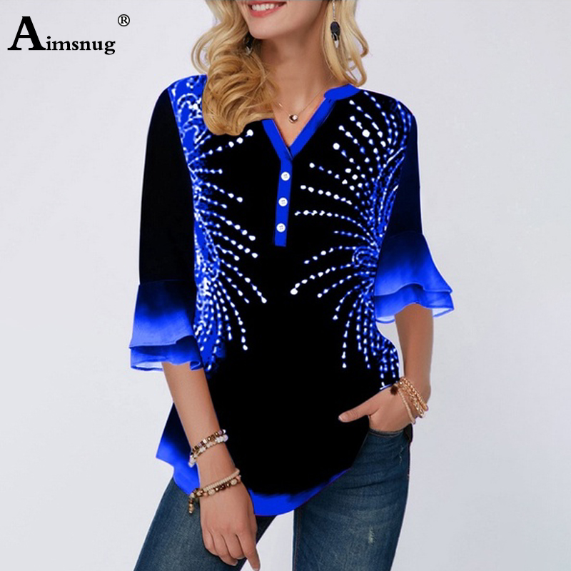 Plus Size 5xl Latest Model Single-breasted Print Position Blue V-neck Flared Sleeve Tops Female T-Shirt Loose Ladies Tee Shirt