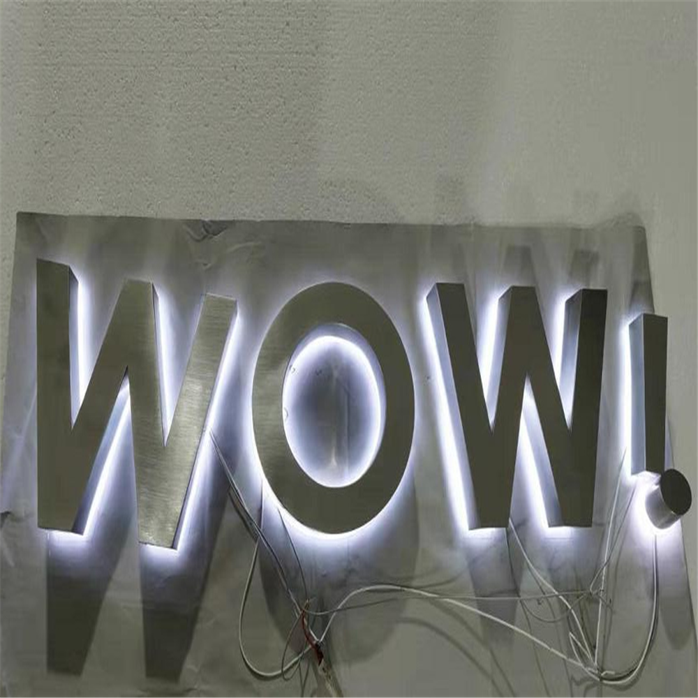 Factory Outlet Outdoor Advertising Backlit  Stainless Steel Led Letter Signs, Storefront Metal LED Letters