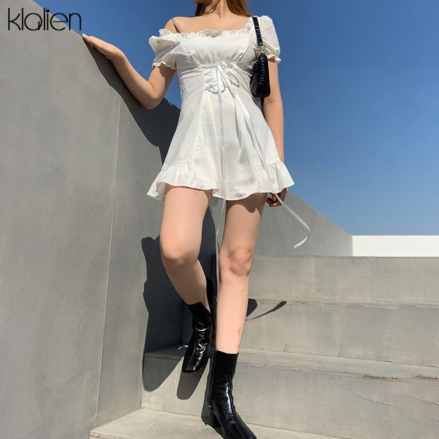 KLALIEN fashion elegant bow white female mini dress summer party birthday festival cute sexy french romantic silk dress women