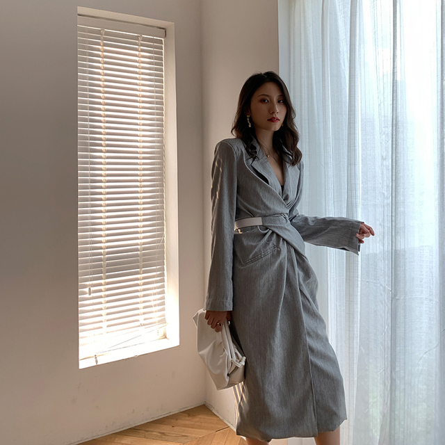 [EAM] Women Gray Pleated Knot Long Elegant Dress New V-collar Long Sleeve Loose Fit Fashion Tide Spring Summer 2020 1W485