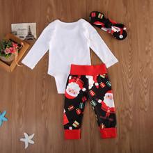 Moje pierwsze święta noworodek Baby Boy dziewczyna święty mikołaj boże narodzenie Romper + spodnie + pałąk stroje 0-18m dziewczynek ubrania tanie tanio Na co dzień CN (pochodzenie) O-neck Swetry COTTON Poliester Unisex Pełna REGULAR Pasuje prawda na wymiar weź swój normalny rozmiar