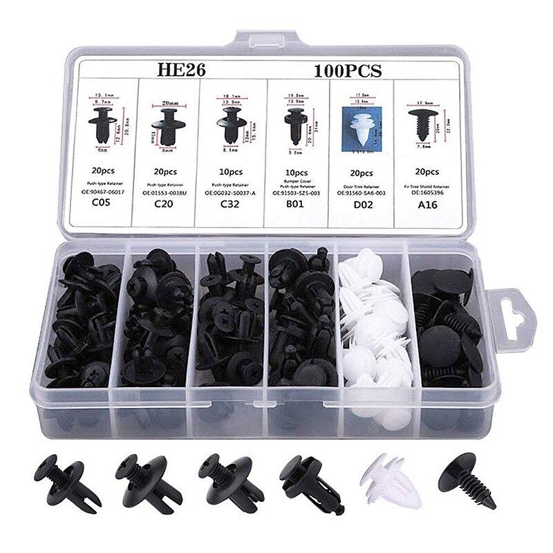 6 Sizes 100pcs Fastener Clip Mixed Car Body Push Retainer Pin Rivet Bumper Door Trim Panel Retainer Fastener Kit