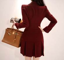 Dress Suits For Women 2020 Autumn Winter Elegant Blazer Long Sleeve Jacket Coat Female Office Lady Double Breasted Mini Dresses(China)