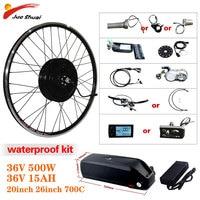 Electric Bike Conversion Kit 500W Motor Wheel 36V 15AH Lithium Battery Ebike Kit 26inch 700C Front/Rear Hub Motor e Bike Engine