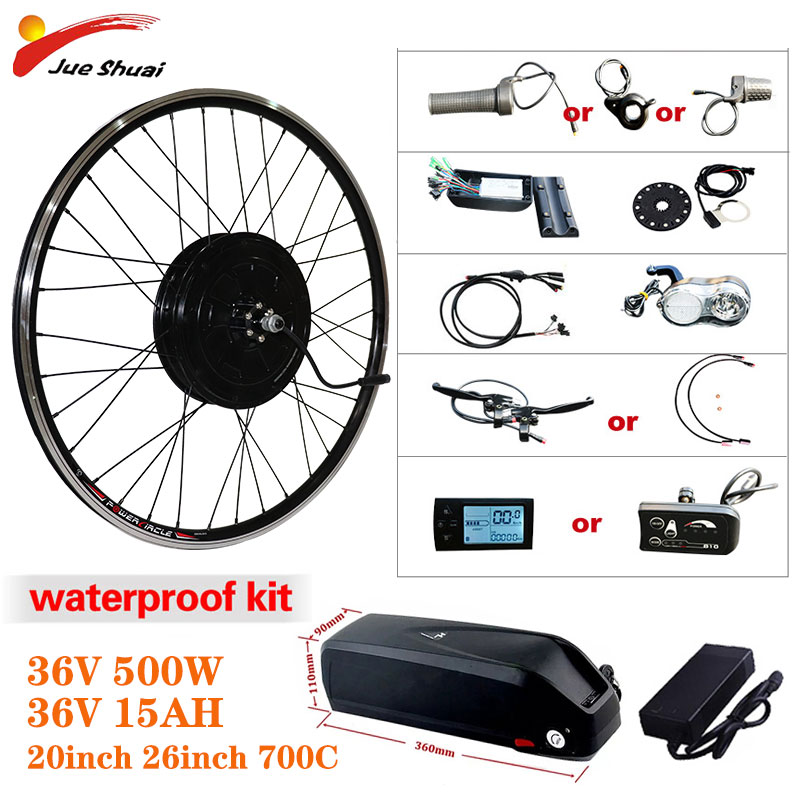 Elektrische Bike Conversion Kit 500W Motor Rad 36V 15AH Lithium-Batterie Ebike Kit 26 zoll 700C Vorne/hinten Hub Motor e-Bike Motor