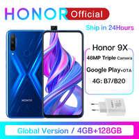 """В наличии глобальная версия Honor 9X 4 Гб 128 Гб Смартфон 48 МП AI Triples камера 6,59 ''Мобильный телефон Google Play мобильный телефон Промо-код """"PRAZDNUEM10"""" ..."""