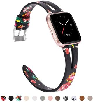 Strap for Fitbit Versa/Versa 2/Versa Lite/Versa SE Bands for Women Men Genuine Leather Breathable Wristbands Ventilated Hole фото