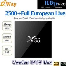 Android 6,0 tv box S905X 1G/8G 2G/16G X96 4k может подписываться на ip-телевидение арабское, Европа, Шведский испанско-португальский, греческий, Индия 2500 каналов