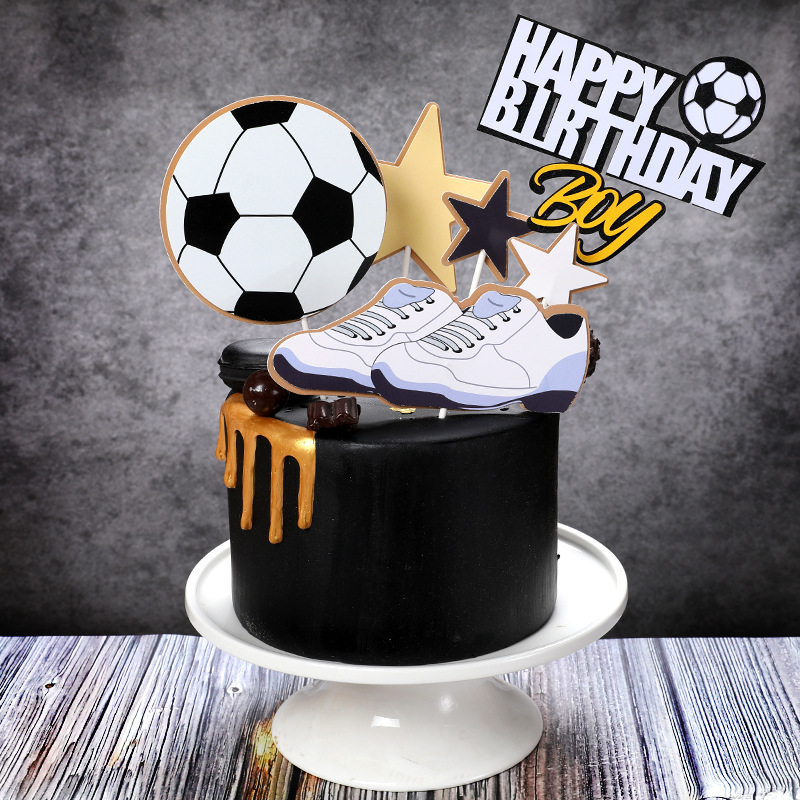 New Basket Ball Football Cupcake Topper Theme Sports Boy Happy Birthday Cake Topper For Kids Birthday Party Cake Decorations(China)
