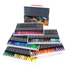 100 cor profissional ponta de feltro caneta marcador de arte para desenho pintura conjunto água coloração escova caneta conjunto dupla dica para a escola