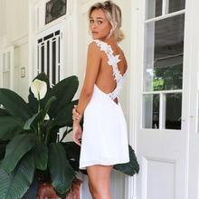 Summer Dresses HOT Elegant Women White Sleeveless V-Neck Back Hollow Out Simple Chiffon Mini Dress