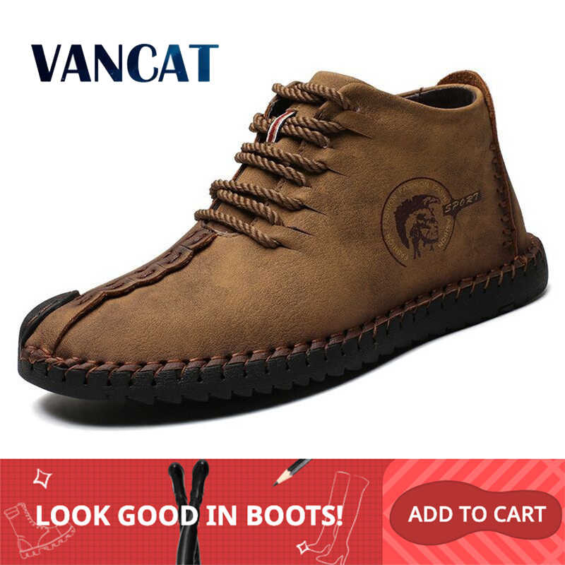 Vancat Mode Mannen Laarzen Hoge Kwaliteit Split Leather Ankle Snowboots Schoenen Warm Bont Pluche Lace-Up Winter Schoenen plus size 38 ~ 48