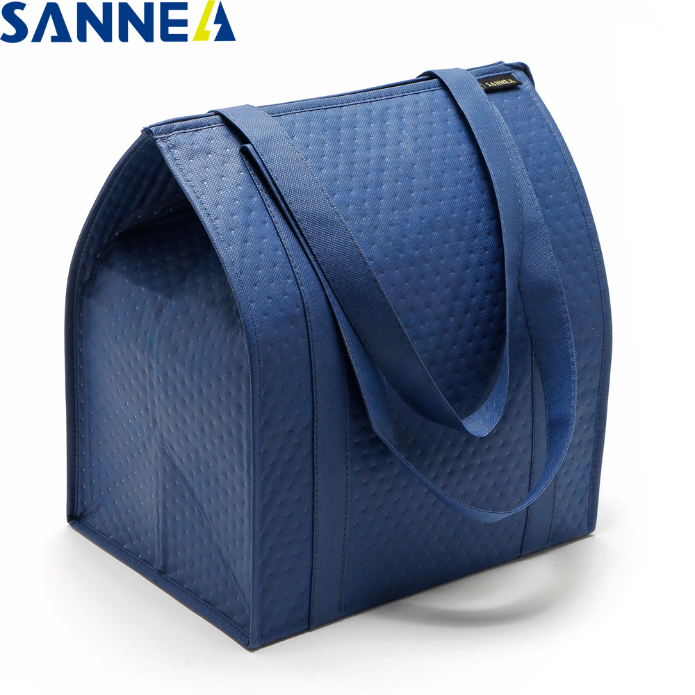 SANNE Solid Color Non-woven Composite Aluminum Film Insulated Thermal Bag Portable Supermarket Shopping Fruit Seafood Ice Pack
