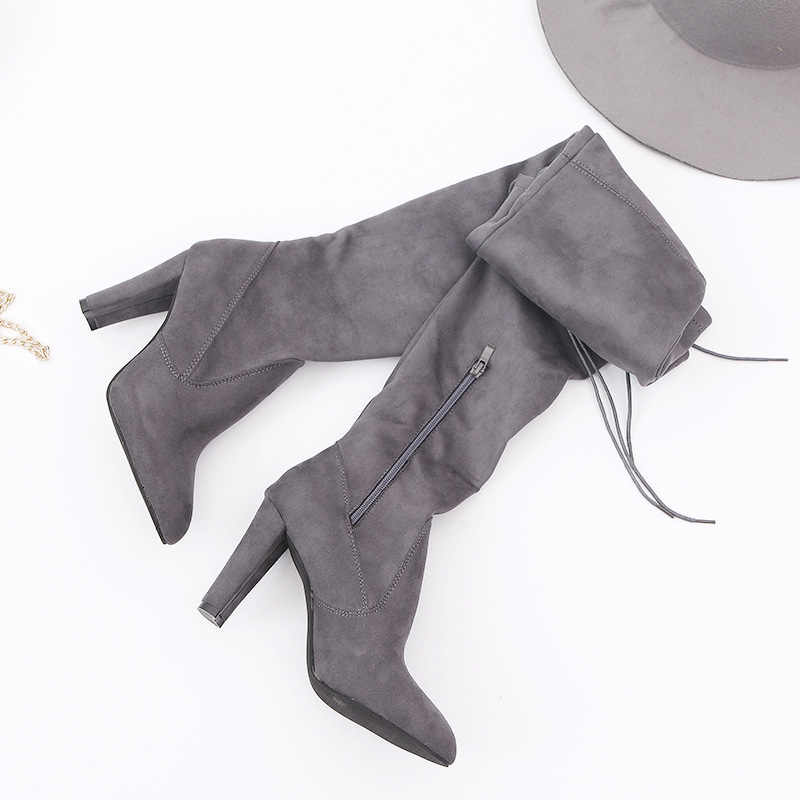 Slim Women'S Boots Female Winter Shoes Suede Over-The-Knee Boots Winter Shoes Women Fashion High-Heeled Boots Autumn