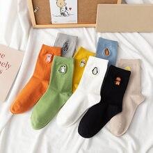 Estilo coreano meias femininas dos desenhos animados animal porco impresso pinguim bordado algodão respirável branco bonito kawaii meias calcetas meias