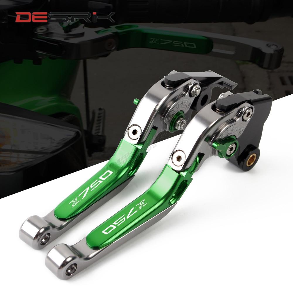 DESRIK haute qualité pour KAWASAKI Z750 Z 750 2007-2012 accessoires de moto pliant extensible frein leviers d'embrayage LOGO Z750