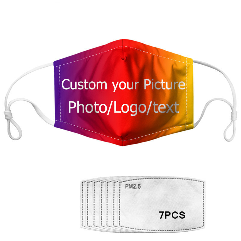 Fashion Face Mask With 7 Filters Custom Image/Logo/Text Women&Man&Kids 5 Layers Filter Insert