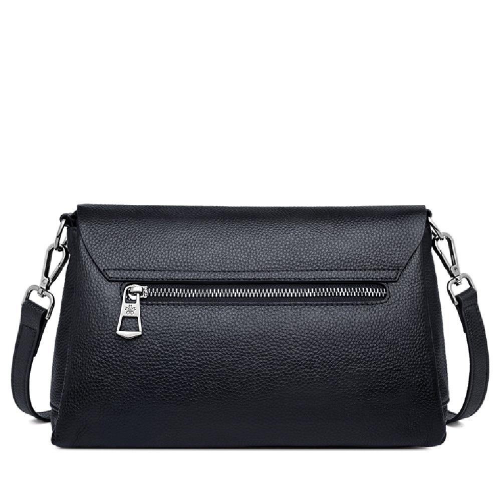 ZOOLER السيدات Crossbody حقيبة حقيبة يد فاخرة النساء حقائب كتف مصمم جلد طبيعي أسود حقيبة ساعي الإناث الفتيات # LD200-في حقائب قصيرة من حقائب وأمتعة على  مجموعة 2