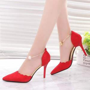 Temperament High Heels Pointed Sexy Wild Thin Heels Single Shoes Sweet Pearl Middle Hollow Women's Shoes Elegant Pumps 5 cm/8cm