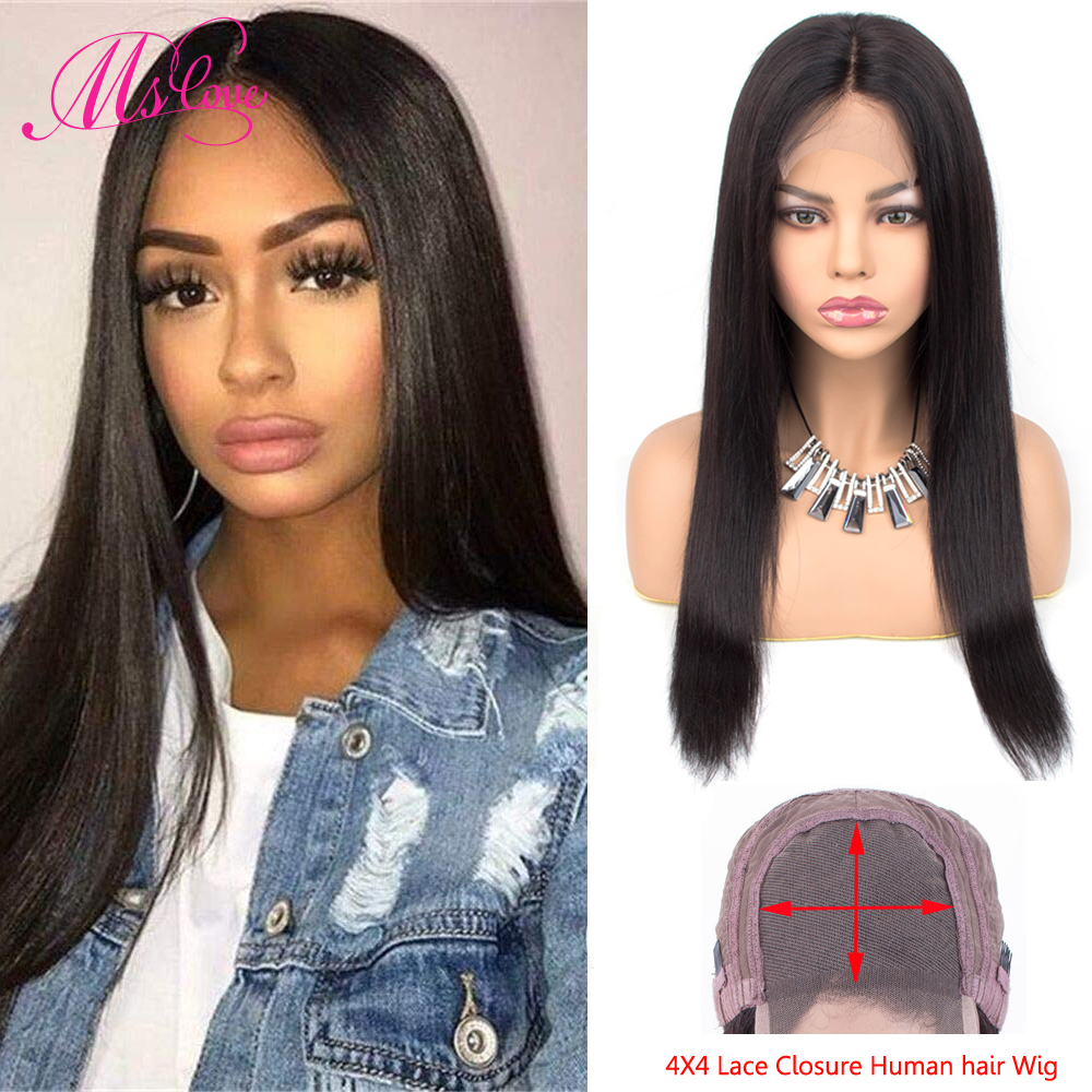4x4 Lace Closure Wig Human Hair Wigs Straight Brazilian Human Hair Brown Wigs For Black Women Natural Color Non-Remy Ms Love