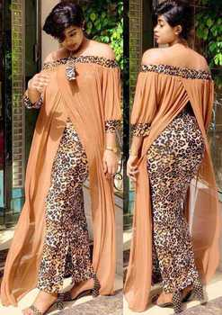 Africa Long Maxi Dress African Dresses For Women Print Leopard Robe Slash Neck Off Shoulder Backless Daily Evening Party Dress