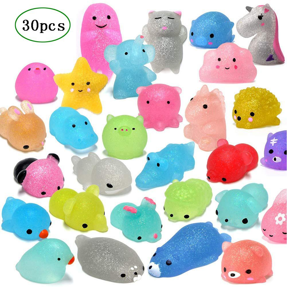 Kuulee 30Pcs Mochi Squishy Toys Glitter Mini Animal Shaped Squishies Toys Party Favors For Kids Stress Relief Toys Xmas Gifts