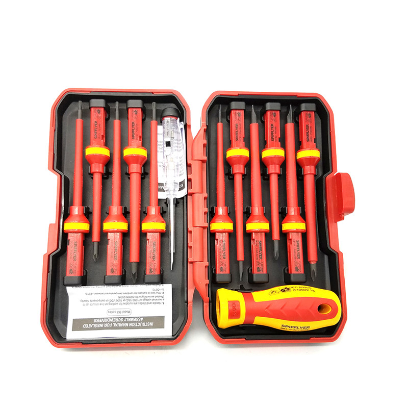 Multifunction 13-Piece VDE Insulated Set Chrome Vanadium Steel Electric Insulated Plastic Handle Screwdriver Repair Install Tool