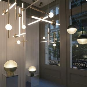 Image 5 - Postmodernistyczny artystyczny Design złota dioda wisiorek światła kreatywny długi kij nocna szlachetny salon Hotel Hall wisząca lampa oprawy