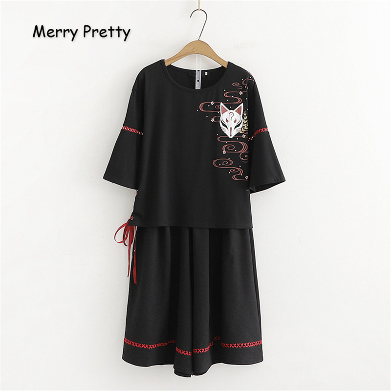 Merry Pretty Cotton Women's Two Piece Sets Cartoon Print T Shirt And Wide Leg Pants 2020 Short Sleeve O-Neck Lace Up T Shirts
