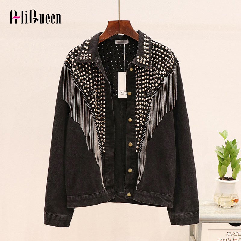 Jeans Jacket Chain Coats Rivet Tassel Streetwear Hand-Studded Black Women Autumn Mujer title=