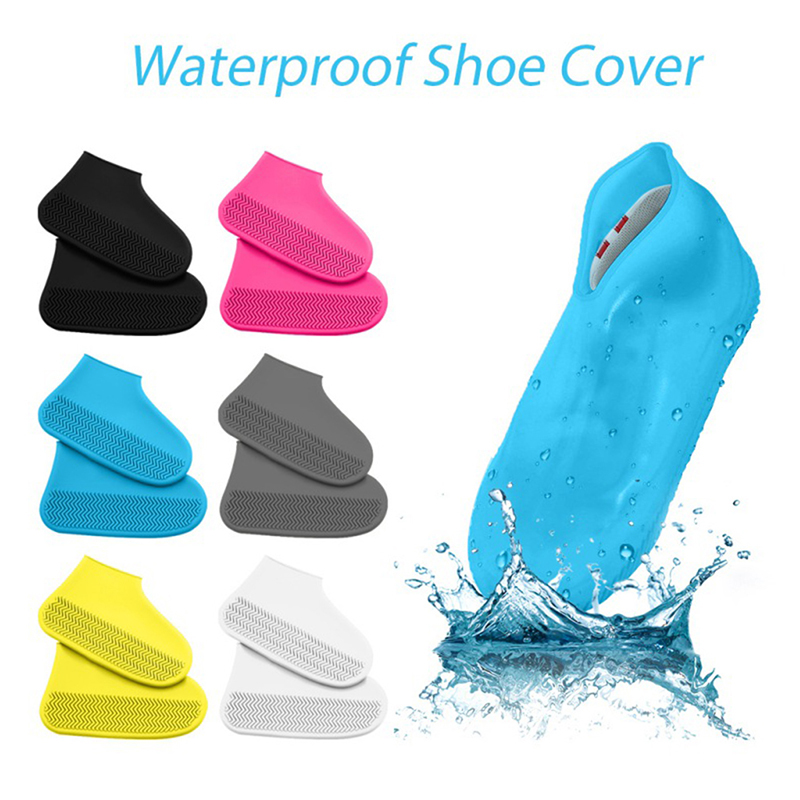Reusable Rainproof Shoes Covers Silicone Washable Wear-Resistant Shoes Covers Waterproof Rain Boots For Adult Kids