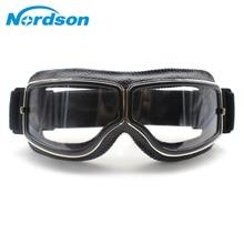 Nordson gafas retro para motocicleta gafas Vintage de motocicleta de cuero para deportes al aire libre para Harley Aviator gafas