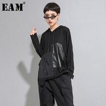 [EAM] ผู้หญิงแยกกระเป๋าขนาดใหญ่ไม่สมมาตรเสื้อยืดขนาดใหญ่ใหม่ Hooded แขนยาวแฟชั่นฤดูใบไม้ผลิฤดูใบไม้ร่วง 2019 1D684