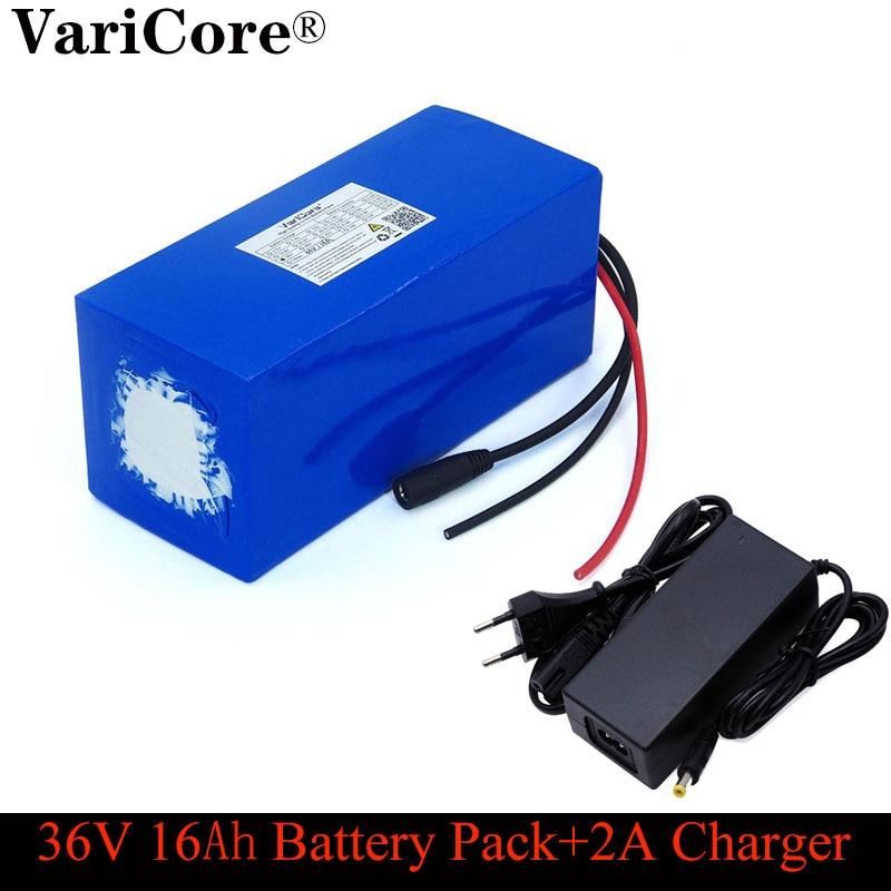 VariCore-Paquete de batería de litio de 36V 16ah 18650 y 800 vatios, protección BMS de 20A, fuente de alimentación de respaldo de 16000mAh + cargador de 42V 2A