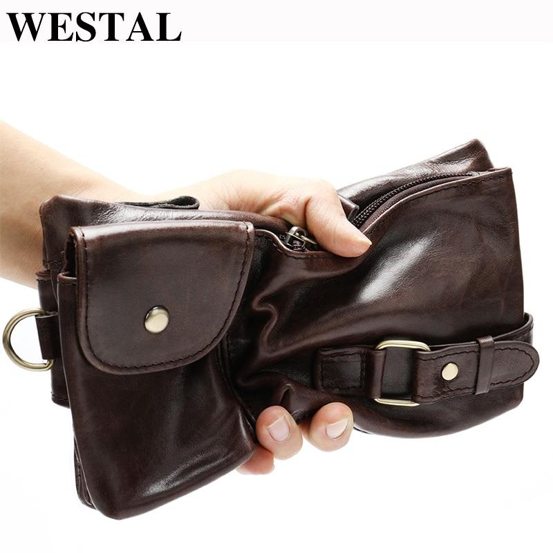 WESTAL Men Belt Bag Men's Waist Bags Genuine Leather Male Fanny Pack Leather Phone Pouch Bag Hip Money Belts Chest Purse 9080